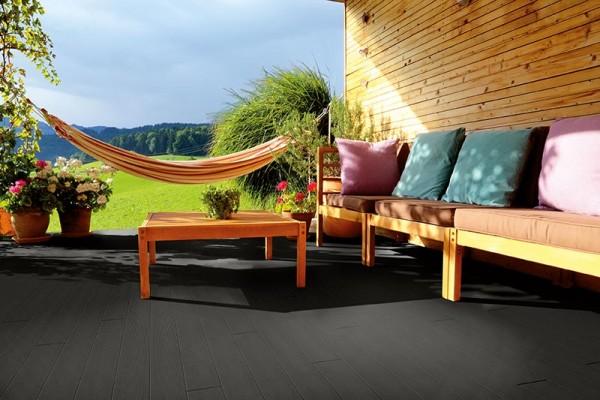 BPC/WPC Terrassendiele Komplettbausatz Pro Innovation Ebony, 4000 mm