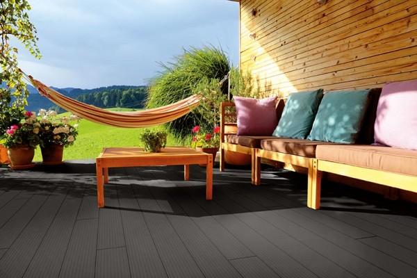 WPC Terrassendiele Komplettbausatz Solid Wide Breitprofil Ebony, 4000 mm