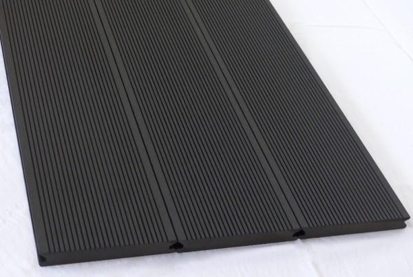 WPC Terrassendiele Komplettbausatz Massiv Ebony, 5000 mm