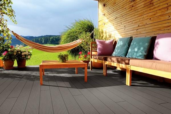 WPC Terrassendiele Komplettbausatz Solid Wide Breitprofil Silver Cedar, 4000 mm