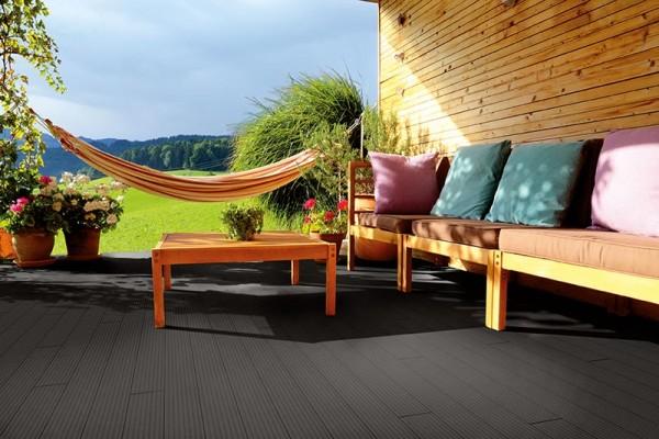 BPC/WPC Terrassendiele Komplettbausatz Pro Innovation Ebony, 5000 mm