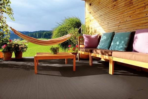 BPC/WPC Terrassendiele Komplettbausatz Pro Solid Mahagoni, 5000 mm