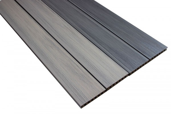 BPC / WPC Terrassendiele | Coextrudiert Silber/Grau | Hohlkammerprofil